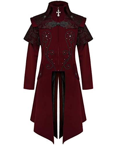 Devil Fashion Hombre Largo Gótico Abrigo Burdeos Terciopelo Rojo Damasco Steampunk Victoriano Caballero Regency Aristocrat Vintage CT13402