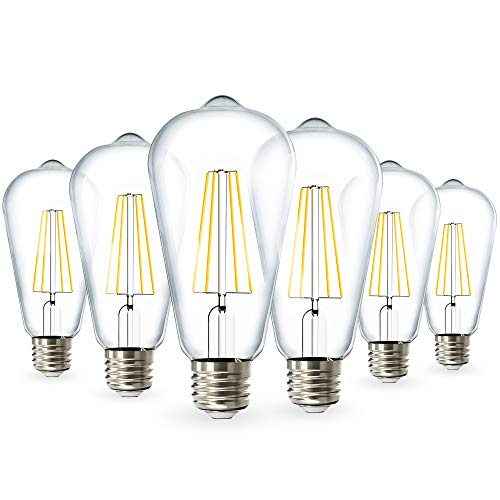 Sunco Lighting 6 Pack ST64 LED Bulb, Dimmable, Waterproof, 8.5W=60W, 3000K Warm White, Vintage Edison Filament Bulb, 800 LM, E26 Base, Restauarant or String Lights - UL