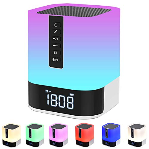 Night Light Bluetooth Speaker, Alarm Clock Bluetooth Speaker for Bedroom, Touch Control Bedside Lamp, Dimmable RGB Multicolor Changing LED Table Lamp, MP3 Player, Wireless Speaker with Lights
