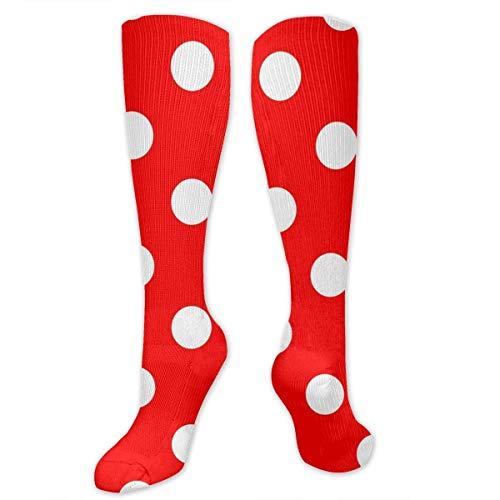 Needyo Strümpfe Kompression,Laufsocken,Polka Dot Red Stockings für Sport,Medi,Flug, Reisen,Schwangerschaft & Medizinische