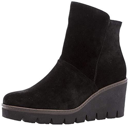 Gabor Damenschuhe 73.784.17 Damen Stiefeletten, Wedge Boots, Stiefel, mit verbreitener Auftrittsfläche, mit Reißverschluss, mit Keilabsatz Schwarz (schwarz (Cognac)), EU 6.5