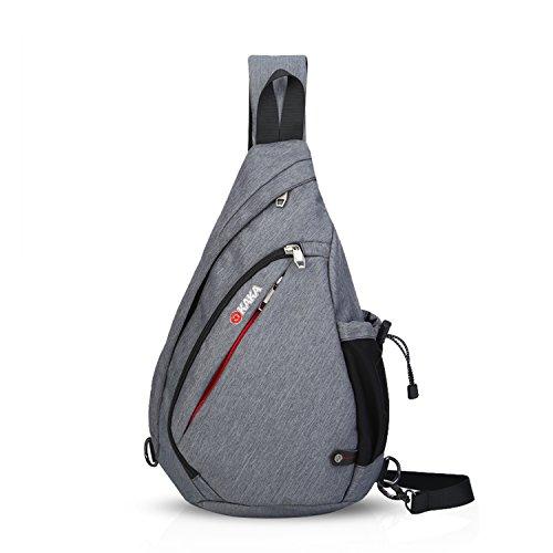 FANDARE Unisex Brusttasche, Umhängetasch für Damen und Herren, Messenger Schultertasche, zum Sport, Reisen und Joggen,Wasserdicht Polyester Grau