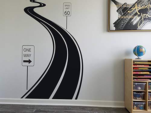 Straßenschild Wanddekoration Geschwindigkeitsbegrenzung Aufkleber Reifen Track Wandsticker Straße Wandsticker Home Decor Wandbild für Schlafzimmer und Wohnzimmer Wandkunst