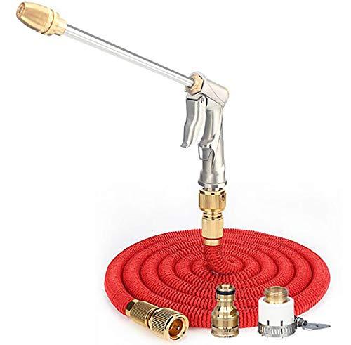 QZWGZ Pistola de agua para lavado de coche de alta presión, pistola de rociado de manguera de jardín, boquilla de latón de alta presión, pulverizador de mano de metal (7,5 m), color rojo