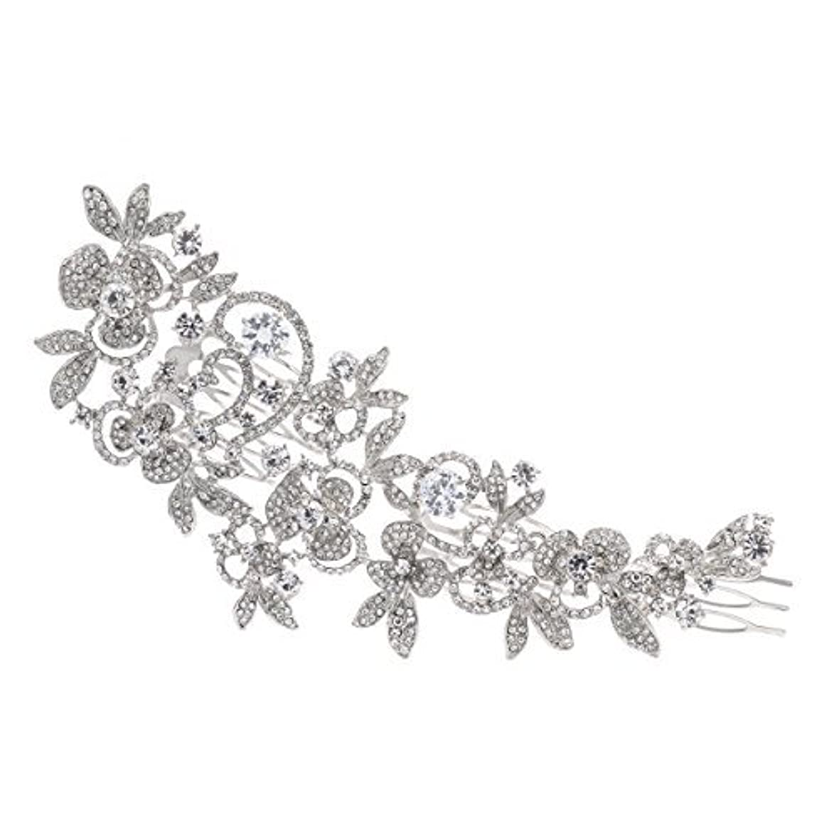 援助休暇同性愛者Sparkly Long Flower Hair Comb Rhinestone Hairpins Bridal Wedding Hair Accessories Jewelry Austrian Crystals Hair Clips FA5027 (Clear) [並行輸入品]