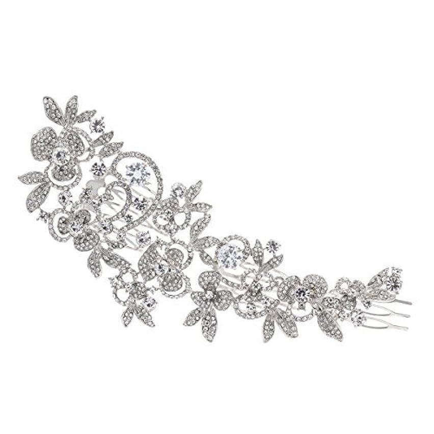 なんとなく顕現口頭Sparkly Long Flower Hair Comb Rhinestone Hairpins Bridal Wedding Hair Accessories Jewelry Austrian Crystals Hair Clips FA5027 (Clear) [並行輸入品]