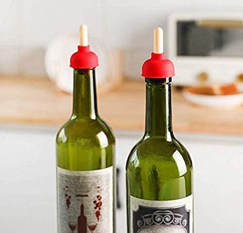 AOLIAY 2 tapones para botella de vino con forma de bombeo de inodoro, para decoración de botellas de vino, conservación de bebidas, apto para fiestas, hoteles, cumpleaños, cenas