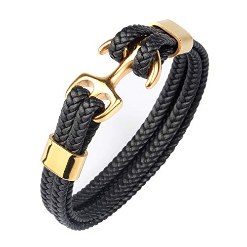 Stainless Steel Gold Anchor Genuine Leather Bracelet for Men Women Charm Simple Style (Size: 8.07inch/205mm))
