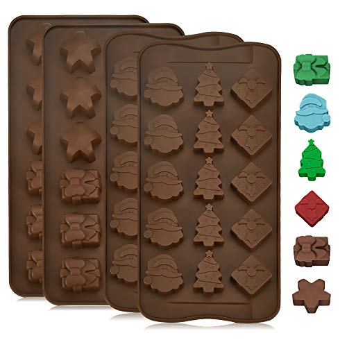 GOLRISEN 4 Stück Weihnachten Schokoladenformen Silikon Pralinenform Lebensmittelqualität Backformen zum Backen mit 5 Verschiedene Muster Wiederverwendbare Silikonform für Süßigkeiten Gelee Pudding