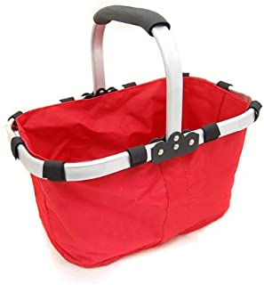 Fabric Lightweight Insulated Foldable Picnic Tote Basket, with Solid Strick, Collapsible Aluminum Alloy Frame and Inner Zipper Purse Pocket (Red)