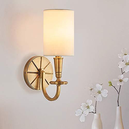 SWNN Luces de pared 13 * 34 cm Retro Simple Tela Full Cobre Lámpara de Pared Oro Luz Caliente Hotel Sala Dormitorio