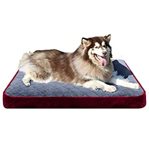 Hero Dog Large Dog Bed Orthopedic Pet Beds 48 Inch Washable Soft Dog Crate Pad Mat Anti Slip Sleeping Mattress with Removable Cover, Burgundy XXL
