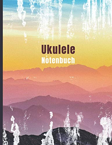Ukulele Notenbuch: Leeres Notenheft zum Ausfüllen mit Tabulatur, Akkordboxen und Liedtextzeilen für Ukulele Lieder | 8,5