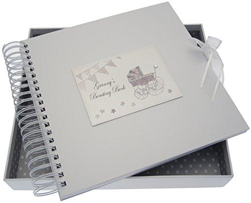 White Cotton Cards S Boasting carte/livre de mémoire (Argent Landau et fanions)