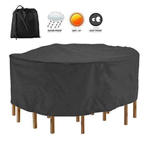 Enjoygoeu Funda Protectora para Mesa de Redonda Exterior Impermeable 420D Oxford,Interior de PU,Funda de Silla Jardin Cubierta Protectora Anti-UV (178 * 58cm, Negro-210D)
