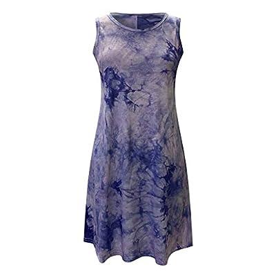 Hemgk Women Summer Tie-Dye Casual Dress O-Neck Sleeveless Print Party Mini Daily Dress Purple from Hemgk