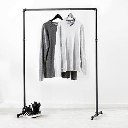 pamo Kleiderständer im Vintage Industrial Design – Gaderobenständer schwarz Metall aus Wasserrohre (Lil LAS Low (125cm x 94 cm))