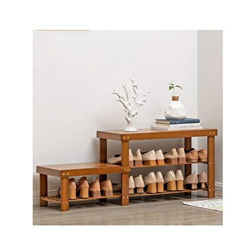 LYLY Zapatero de bambú para zapatos de 2/4 niveles, organizador de zapatos de 2/4 niveles, soporte para zapatero para entrada, pasillo y zapatero (tamaño 2 niveles)