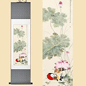 Features Chinese Style Silk Chinese Watercolor Flowers Birds Ink Art Lotus Mandarin Ducks Feng Shui Wall Picture Framed Painting On Canvas Roll 30X100Cm
