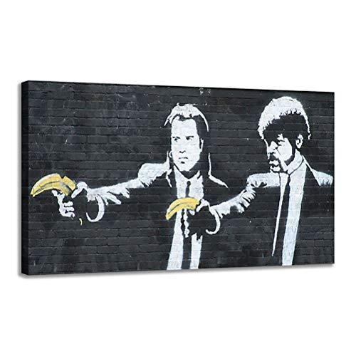 Cartel con estampado negro Banksy Funny Pulp Fiction Picture Arte pared Cartel la película del artista Banksy Tarantino sala de estar Dormitorio Decor para el hogar - sin marco,45X60cm
