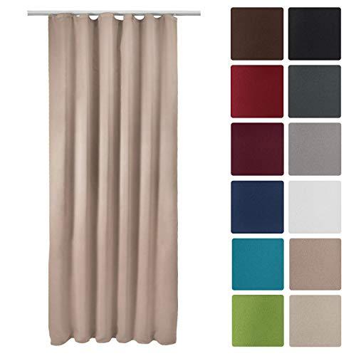 Beautissu Blackout-Vorhang Amelie BK mit Kräuselband - 140x245 cm Verdunklungsgardine Universalband Sand & weitere Farben
