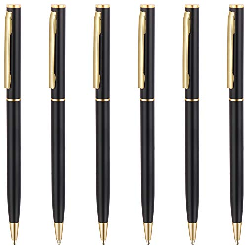 Unibene Slim Metallic Retractable Ballpoint Pens - Matte Black & Gold, Nice Gift for Business Office Students Teachers Wedding Christmas, Medium Point(1 mm) 6 Pack-Black ink