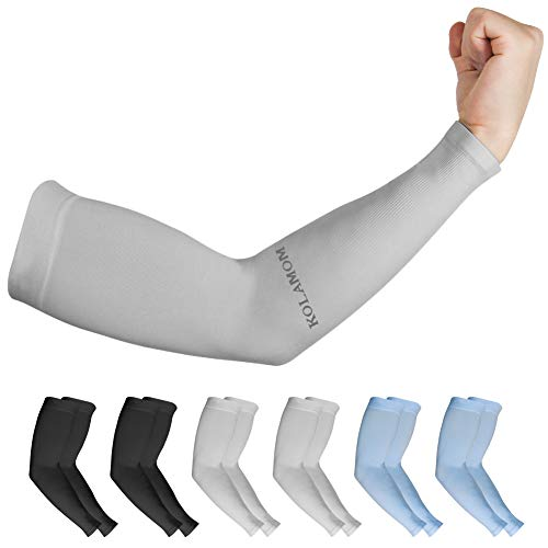 Compression Arms Sleeves for Women Men Baseball Arm Sleeves Covers for UV Protection Arm for Football , Running, Volleyball, Hiking, Fishing , 6 Pairs