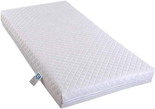 Travel Cot Bed- Travel Cot Mattress Cot Bed Fully Breathable Foam Mattress & Poly Cotton Cover for Baby Comfort 95cm x 65cm x 5cm by TOP STYLE COLLECTION (95cm X 65cm X 5cm)