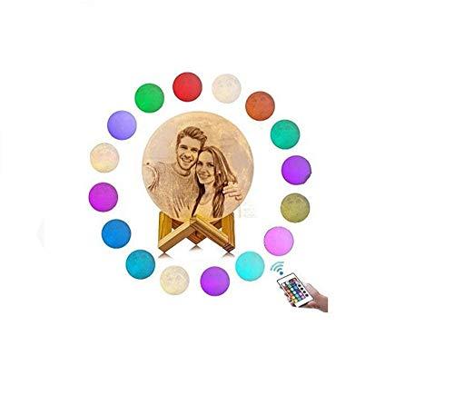 Lámpara de luna con soporte, lámpara de luna llena, lámpara de luna 3D, 100% impresión 3D Lámpara de luna de 16 colores, toque y control remoto Luz de luna decorativa (5,9 pulgadas / 15 cm)
