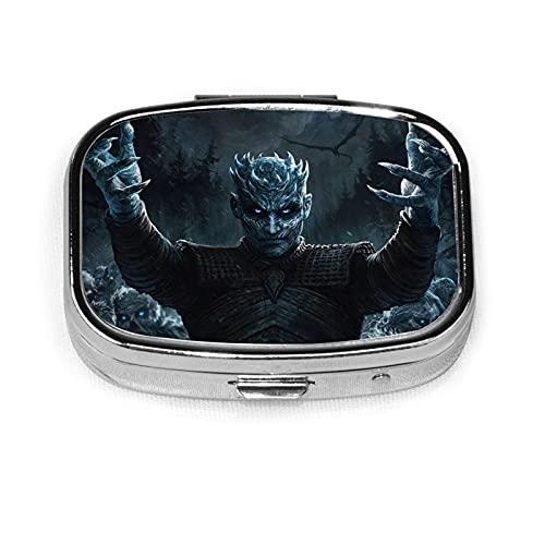 Game Thrones TV Show Travel Pequeña Pastillero Cuadrado Organizador de Pastillero Caja de Metal Decorativa Pastillero