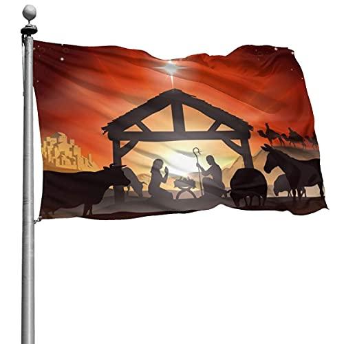 Bandiera della storia della scena natalizia tradizionale invernale Bandiera 4x6 Ft in poliestere cucito grande bandiera esterna appesa
