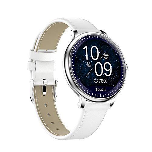 YHML Smart Watch Herzfrequenz-Blutdruckmessgerät Physiologische Reminder Übung IP67 wasserdichte Damen Herren Smartwatch,Sliver Leather