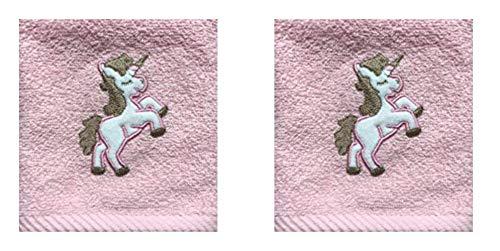 Mals Harwoods - Toalla para la Cara (2 Unidades, Franela Bordada), diseño de Unicornio, búho, Monstruo, Bailarina, Pato