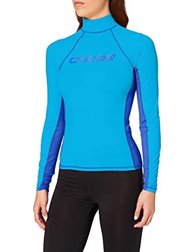 Cressi Rash Guard Lady Long SL Camiseta Mangas Largas, en Tejido Elástico Especial, Protección Solar UV (UPF) 50+, Mujeres, Aguamarina/Azul Royal, XS