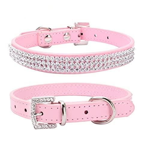 ZJHGQ Collar de perro con diamantes de imitación de 3 filas con diamantes de imitación de corazón de piel sintética y collar de perrito de cristal, para mascotas y gatos, rosa 1