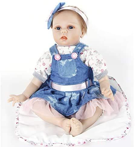 Realistica 55cm Bambole Reborn Femmina Bambina Silicone Originali Bambola Reborn La Bambola Indossa di Jeans Blu Bambolotti Che sembrano Veri Baby Dolls