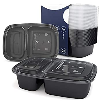 Meal Prep Container 2 Compartment 30 pack Meal Prep Tupperware Sets with Lids Meal Prep Containers Reusable Food Prep Containers Divided Food Storage Containers BPA-free Freezer Meal Containers