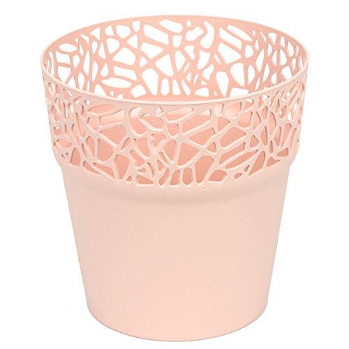 Rond cache-pot 17.5 cm NATURO plastique romantique style en jaune