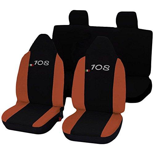 Lupex Shop N.AR stoelhoezen voor Peugeot 108 tweekleurig, zwart/oranje