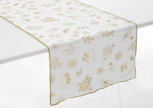 Amadeus - Chemin de Table Blanc et Or en Coton Mekong