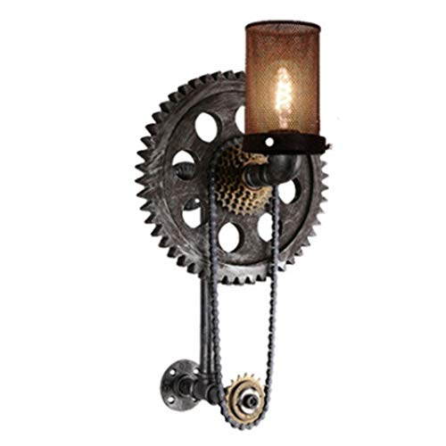 Apliques American Stype Lámpara de Pared Retro Industrial Gear Wall Light Botón Interruptor de iluminación de Pared for el Dormitorio Sala de Estar Bar Cafe Aplique (tamaño : B-25.6X11.8'')