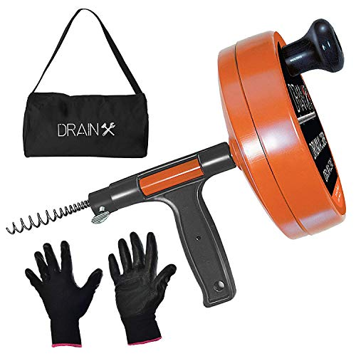 DrainX Drain Auger Pro | Heavy Duty Steel Drum Plumbing Snake with 25-Ft Drain Cleaning Cable | Comes with Work Gloves and Storage Bag