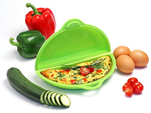 YOKO DESIGN 1155 cuit-Omelette en Silicone Platinium, Platine, Vert, 22 x 13 x 5,5 cm