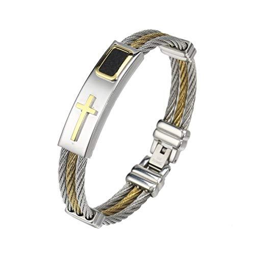 ACEHE Herren Armband, einzigartiges Design Herren 3-reihiges Drahtkettenarmband Lässig Einfacher Stil Herren Edelstahl Kreuz Armband Schmuck