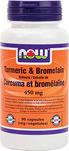 NOW Turmeric & Bromelain 450mg Extract 90 Veg Capsules, 90 g