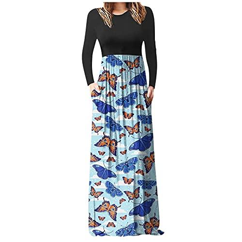 ZiSUGP Vestito di Raso Vestito Lungo da Donna con Stampa a Maniche Lunghe Vestito Lungo da Cocktail da Spiaggia con Tasche Vestito Cerimonia Donna Corto Medium Cielo Blu