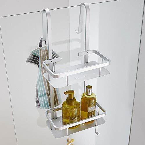 yuery Modern Space - Estante de esquina de aluminio plateado para baño, 2 capas, color blanco