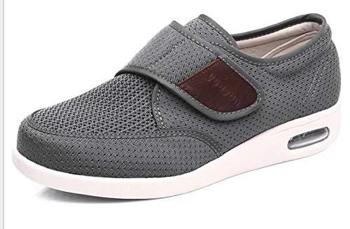 B/H Zapatos para El Hogar De Ajuste Ancho para DiabéTicos,Zapatos Deportivos de Verano para Hombres, Zapatos con cojín de Aire Transpirable con Velcro-Gray_40
