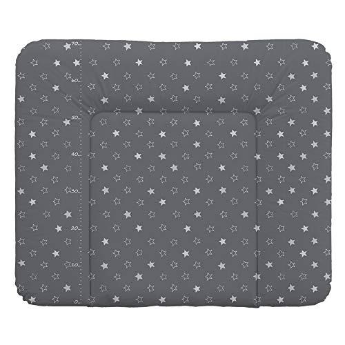 Wickelauflage Wickelunterlage Wickeltischauflage 70x85 cm Abwaschbar - Dunkelgrau Sterne 70 x 85 cm