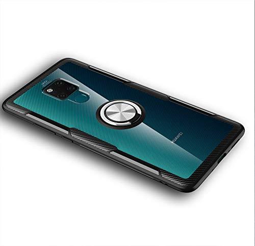 LAGUI Passend für Huawei Mate 20 X Hülle, Transparente Handyhülle Mit 360 ° Verdrehbare Ring, für Magnetischen Autohalterungen. Silber+schwarz